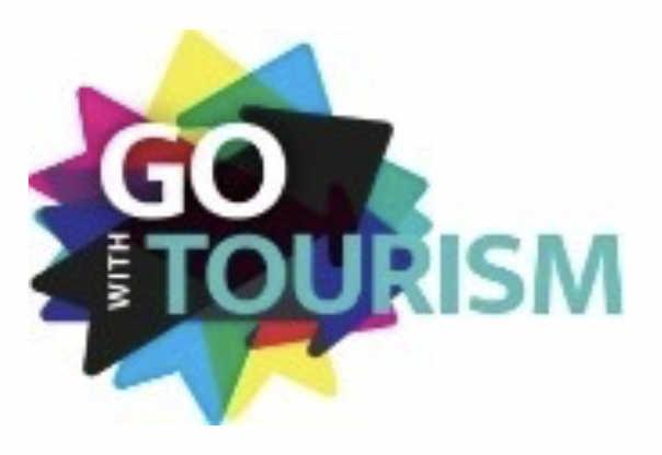 "GO WITH TOURISM Logo, multi-coloured circular shape with the text ""GO WITH TOURISM"" overlaid"""