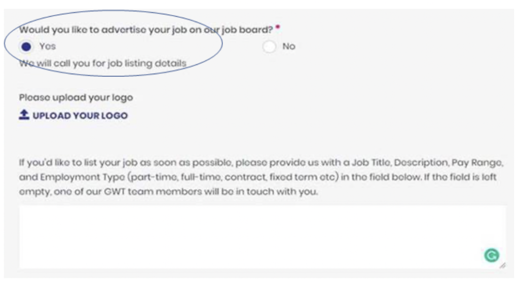 "A screenshot showing how to advertise vacancies on the Go With TOurism website, it has a circle around the ""Yes"" radio button under the heading ""Would you like to advertise your job on our job board?"""